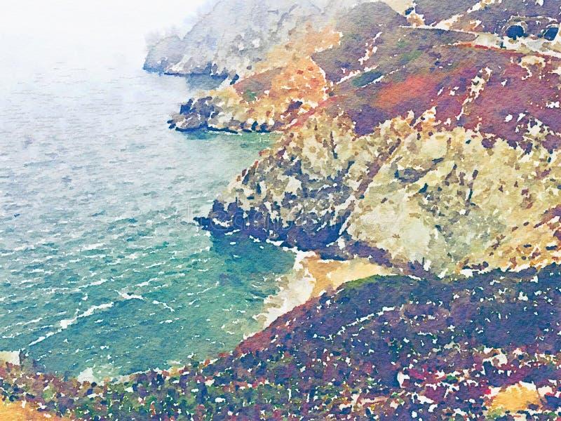 与水和山的水彩海洋沿海风景 免版税库存图片