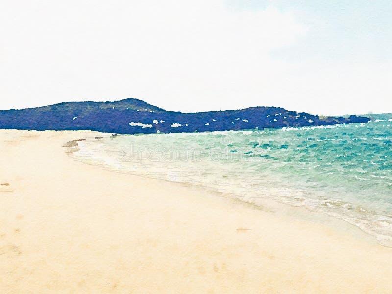 与水和山的水彩海洋沿海风景 库存照片
