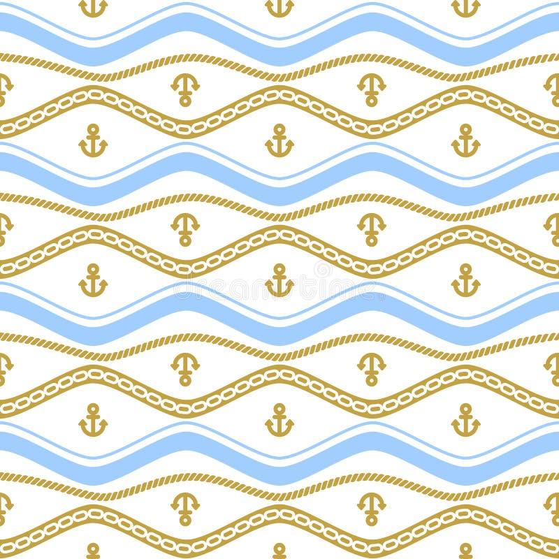 与绳索和链子的无缝的样式 海洋题材持续的背景  库存例证