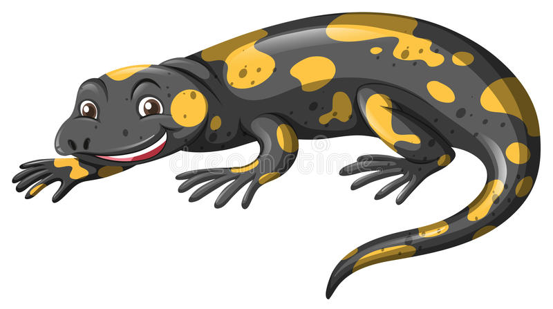 与黑和黄色皮肤的蜥蜴 向量例证