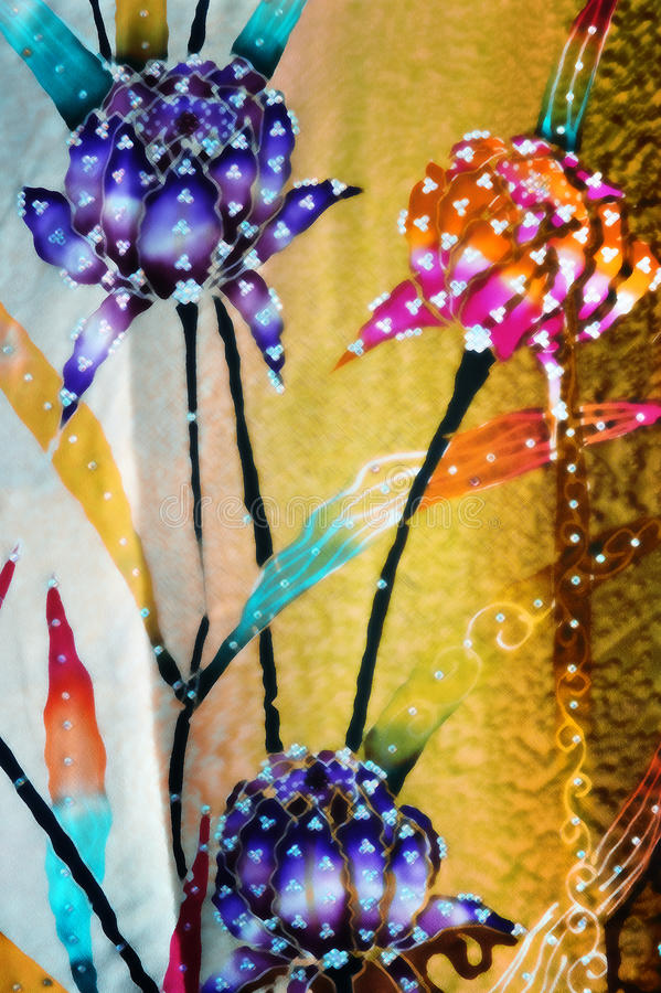 与织品纹理的蜡染布背景 免版税图库摄影