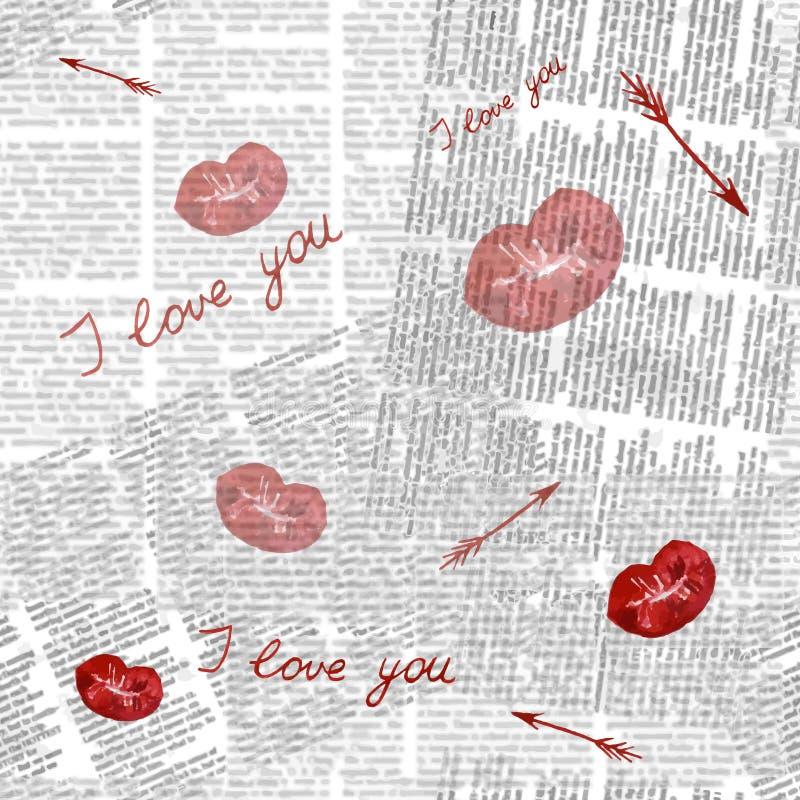 与嘴唇和箭头的水彩无缝的样式在报纸b 图库摄影