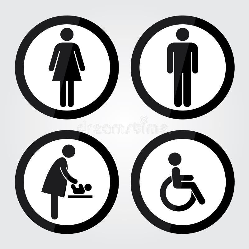 与黑圈子边界的黑圈子洗手间标志,人标志,妇女标志,婴孩改变的标志,障碍标志 库存例证