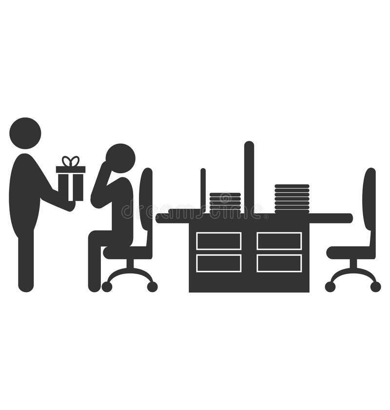 与给在白色隔绝的礼物工作者的平的办公室象 库存例证
