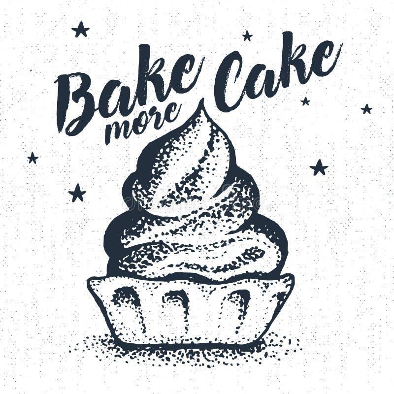与织地不很细杯形蛋糕传染媒介例证的手拉的党标签 库存例证