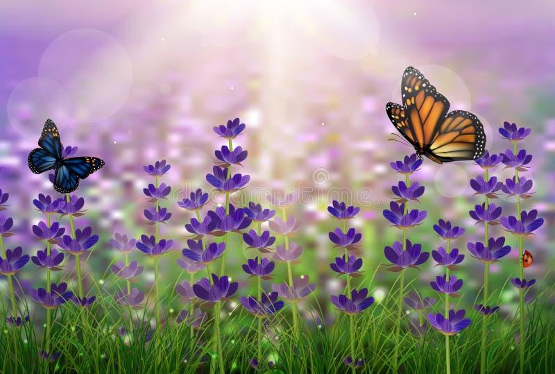 与满地露水的绿色的紫色郁金香和蝴蝶 向量例证