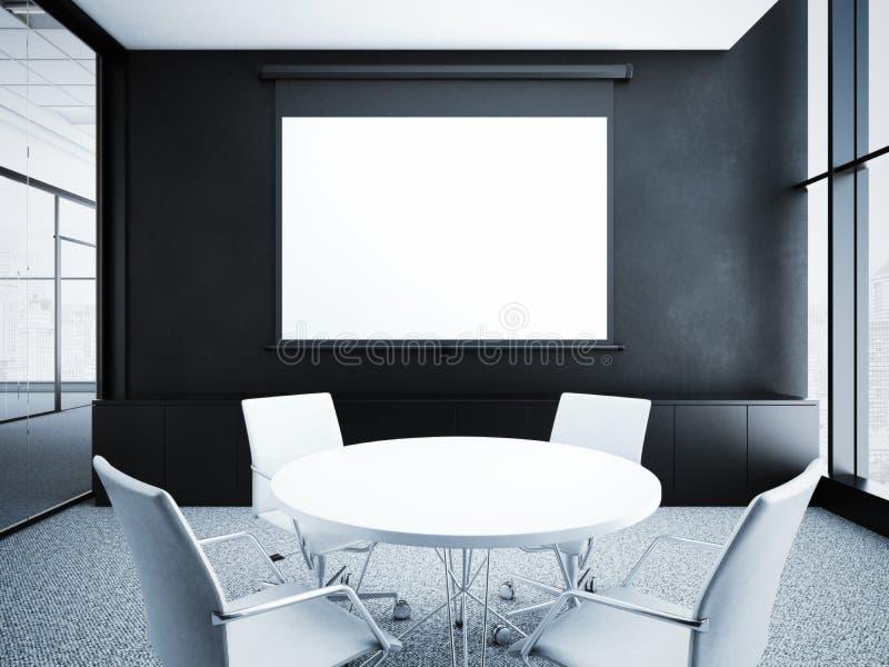 与黑墙壁的现代办公室内部 3d翻译 皇族释放例证