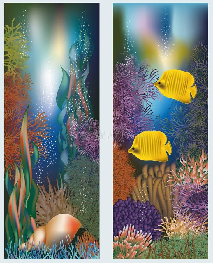 与贝壳的水下的世界横幅 库存例证
