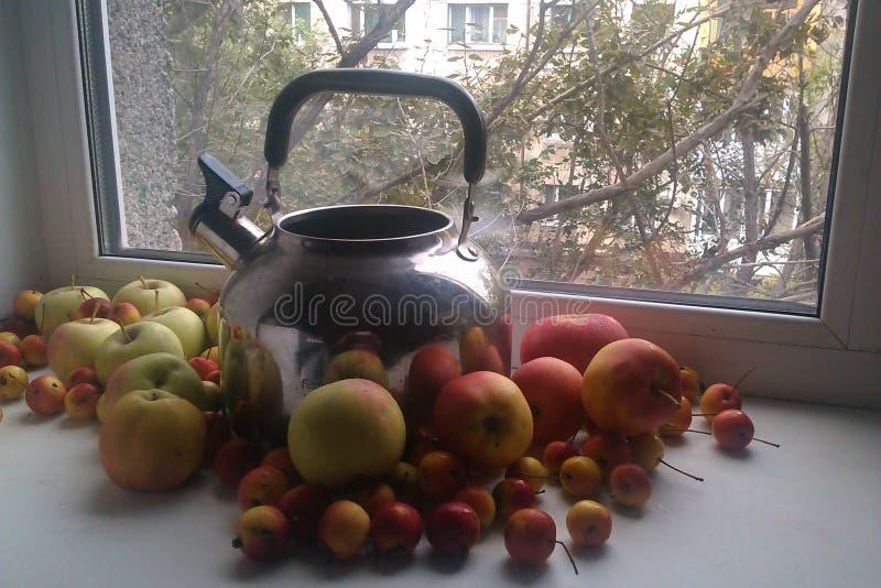 与水壶的在窗口的静物画和苹果 免版税图库摄影