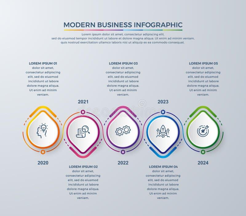 与5处理选择或步的Infographic设计 创造性infographic图的,报告,传单,小册子,工作流和 库存例证