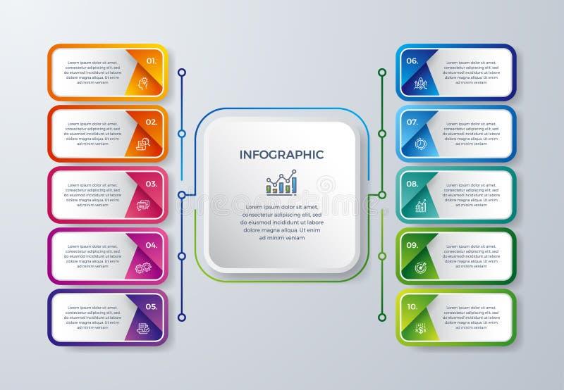 与10处理选择或步的Infographic设计 创造性infographic图的,报告,传单,小册子,工作流 皇族释放例证