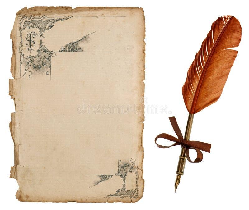 与维多利亚女王时代的装饰品的古色古香的纸板料和葡萄酒着墨笔 免版税库存照片