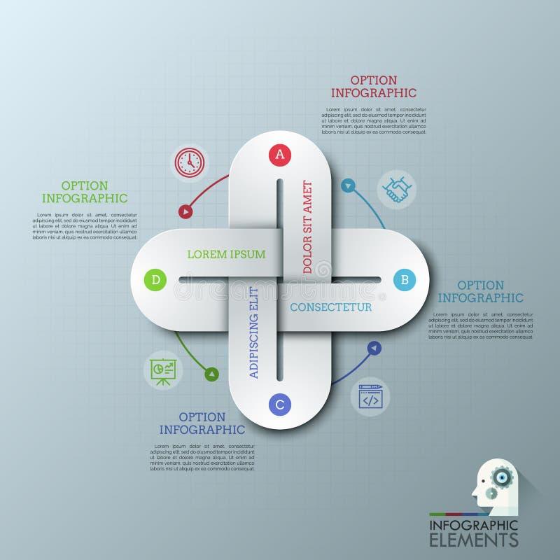 与4多彩多姿的链节的创造性的infographic设计模板一起连接了,稀薄的线象和正文框 库存例证