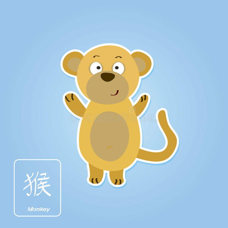 与猴子和中国黄道带的储蓄象签字 皇族释放例证