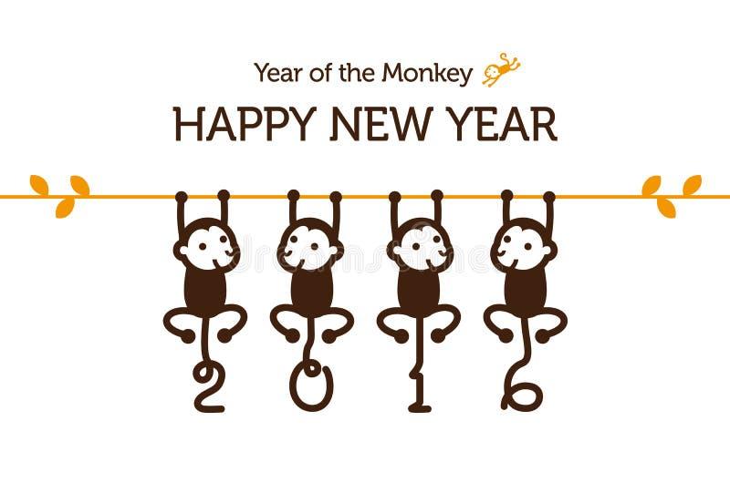 与猴子的新年卡片 向量例证