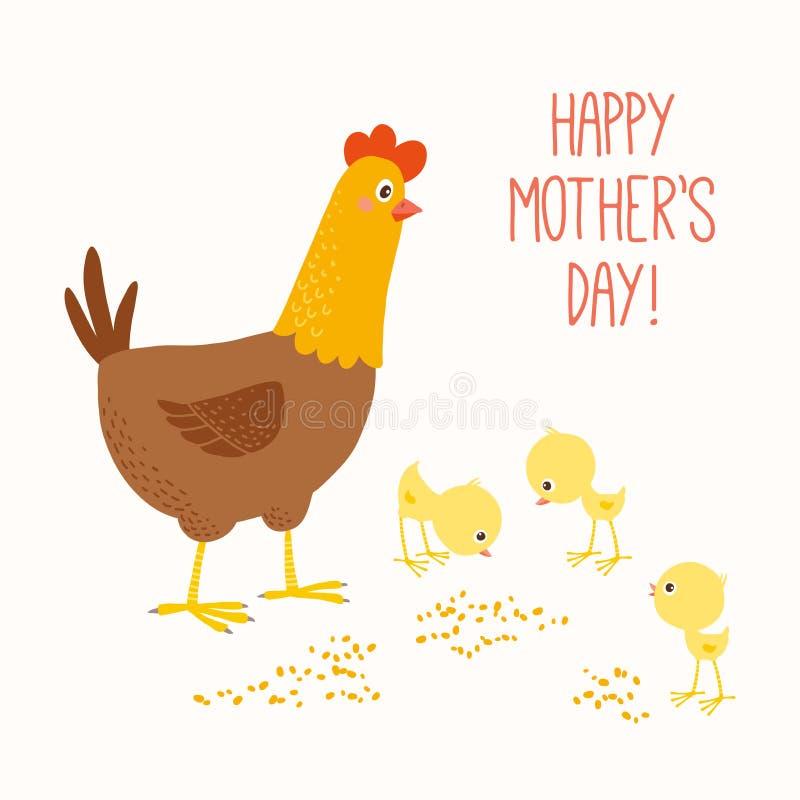 与婴孩小鸡的愉快的母亲母鸡 向量例证