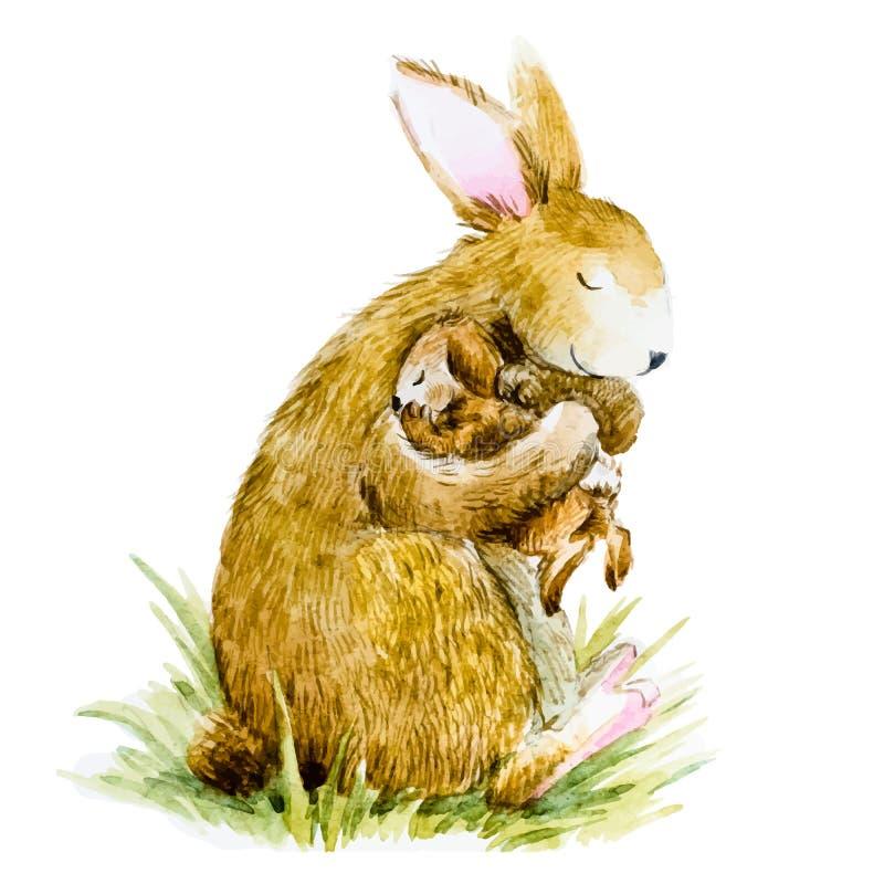 与婴孩的水彩兔子 皇族释放例证