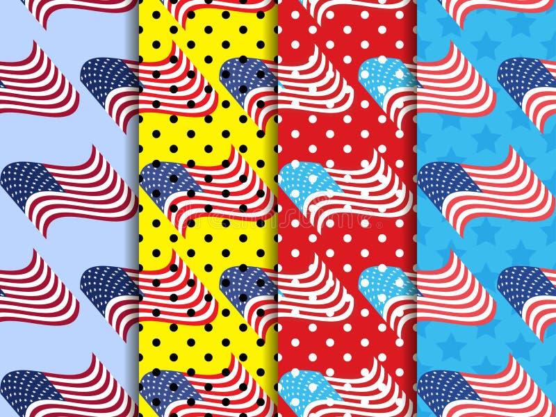 与黑小点的美国国旗无缝的样式 流行艺术被加点的背景 向量 向量例证