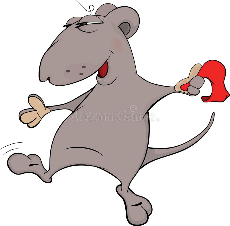 与围巾动画片的老鼠舞蹈 库存例证