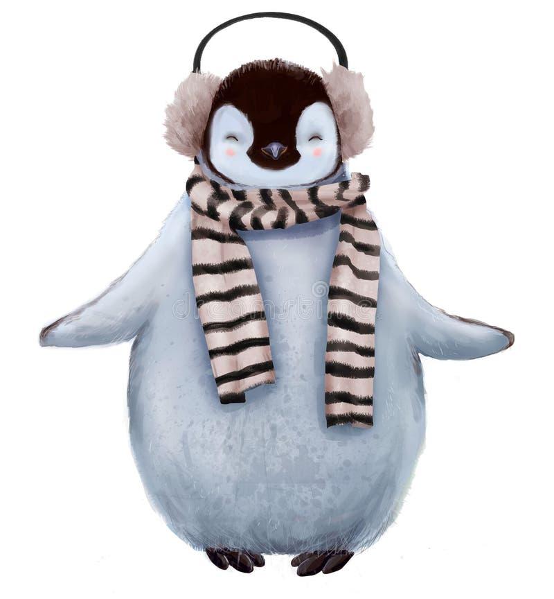 与围巾的逗人喜爱的企鹅 库存例证