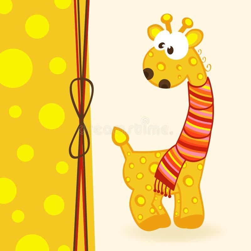 与围巾的长颈鹿 库存例证
