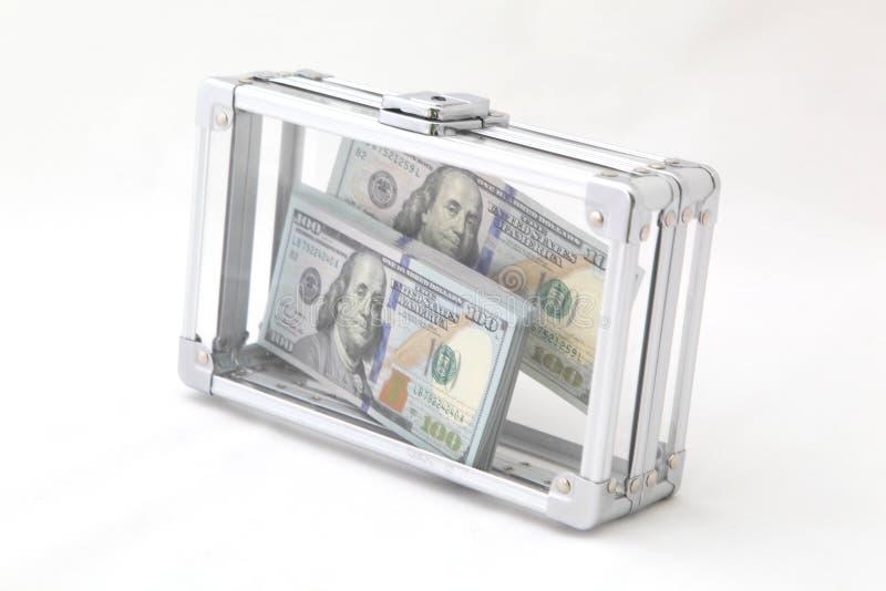 与货币的案件 免版税库存照片
