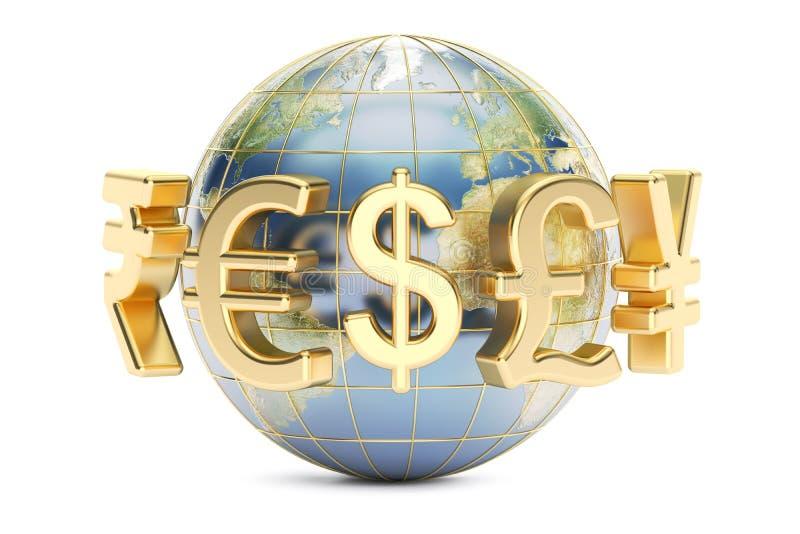 与货币符号的地球, 3D翻译 向量例证