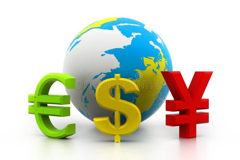 与货币符号的地球 皇族释放例证