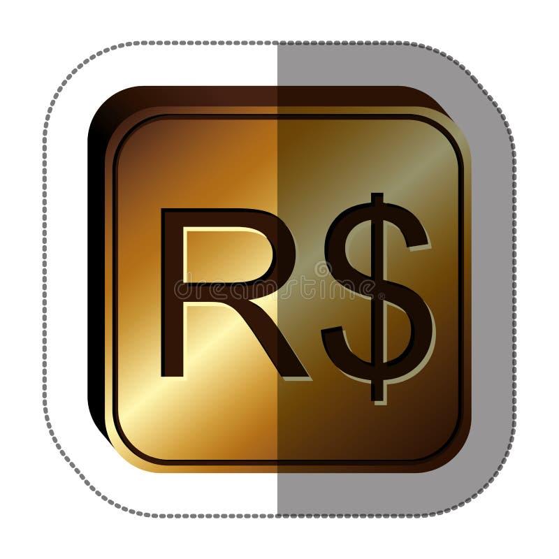 与货币符号的贴纸金黄正方形的巴西真正 向量例证