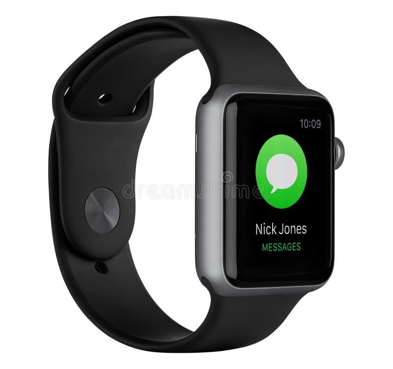 与黑带的苹果计算机手表体育42mm空间灰色铝盒 免版税图库摄影
