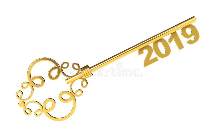 与2019年标志的金黄葡萄酒钥匙 3d翻译 向量例证