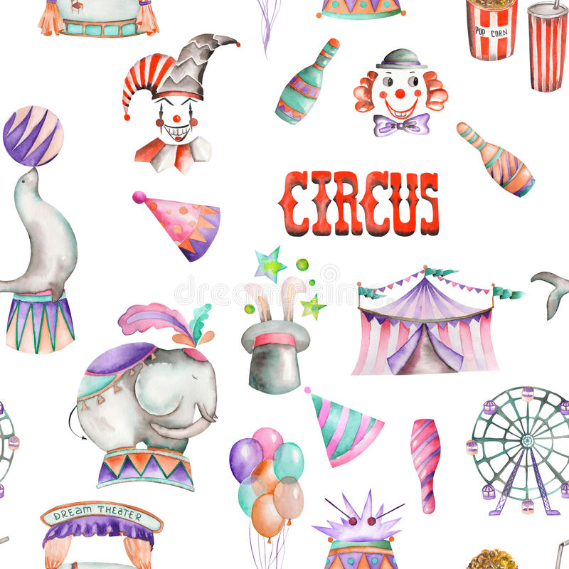 与水彩减速火箭的马戏元素的一个无缝的样式:气球,玉米花,马戏场帐篷(大门罩),冰淇凌,马戏美洲黑杜鹃 库存例证