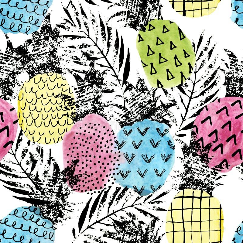 与水彩和难看的东西的五颜六色的菠萝构造无缝的样式 库存例证