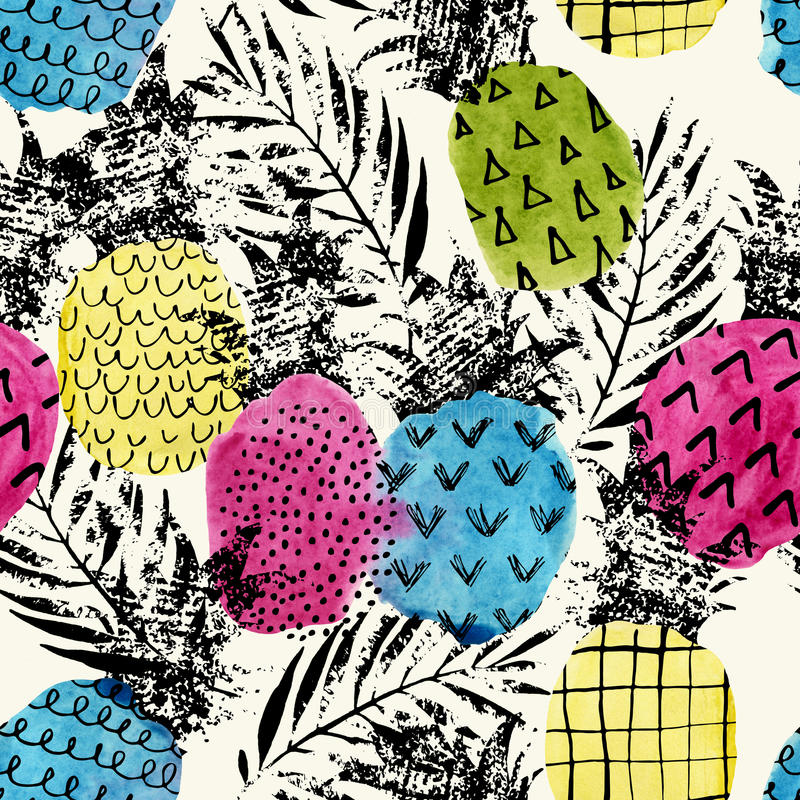 与水彩和难看的东西的五颜六色的菠萝构造无缝的样式 皇族释放例证