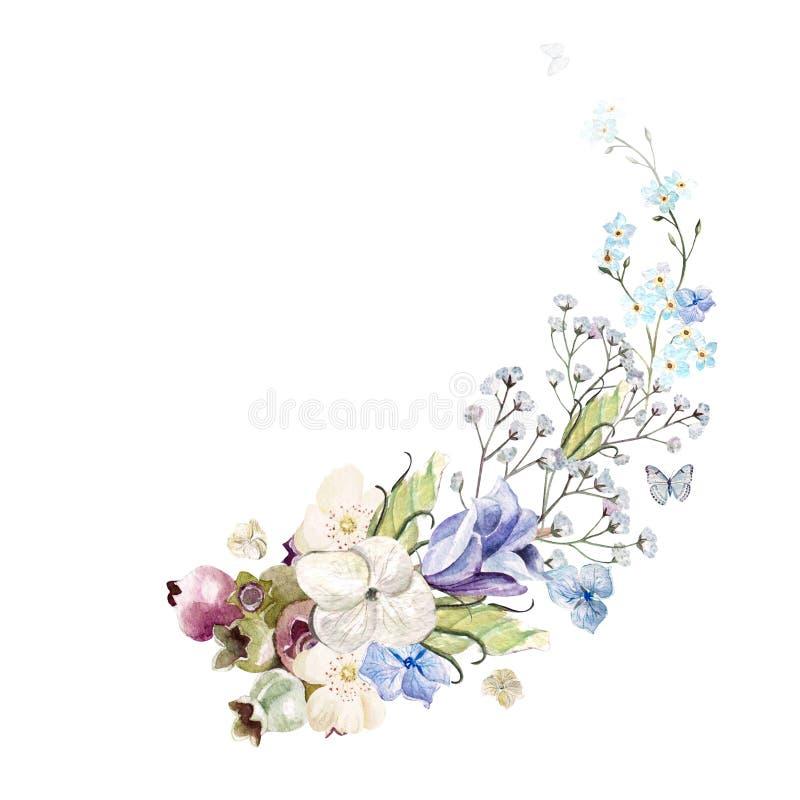 与水彩喇叭花的样式在背景中开花 向量例证
