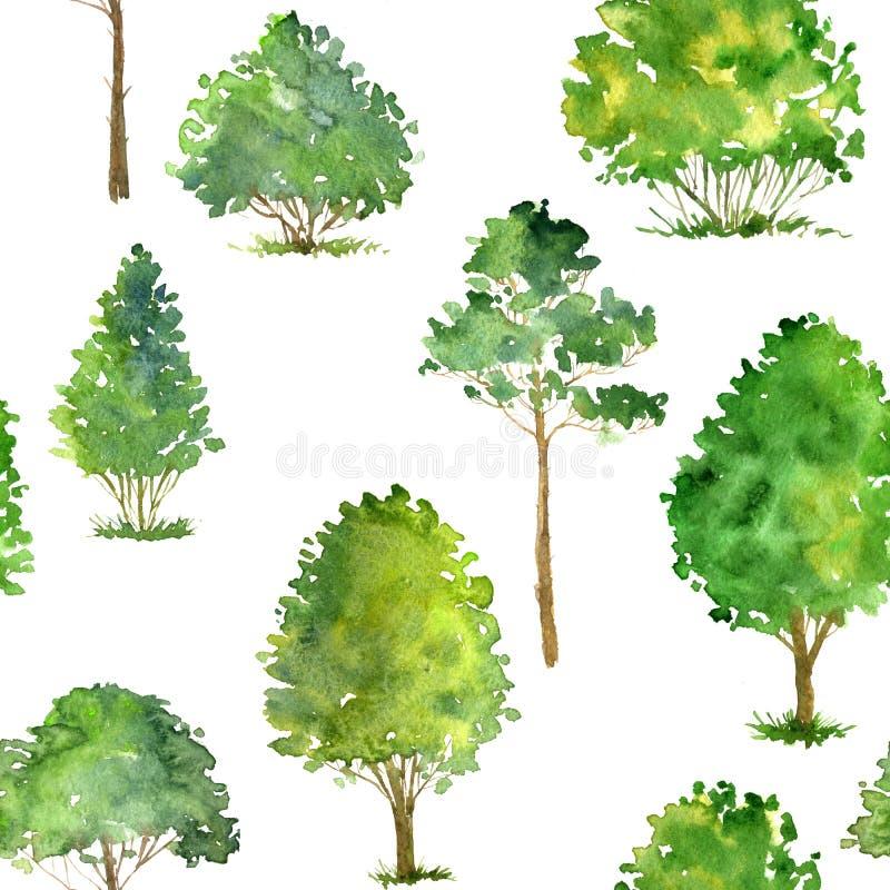 与水彩图画树的无缝的样式 皇族释放例证
