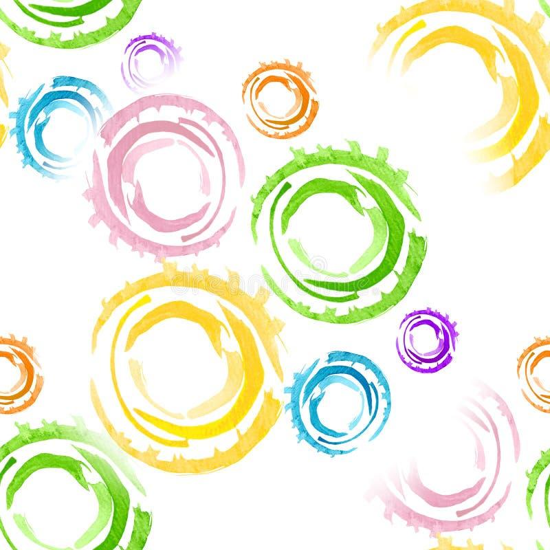 与水彩圆环的无缝的背景 在树胶水彩画颜料创造的图片的主要元素速写手工制造技术 皇族释放例证