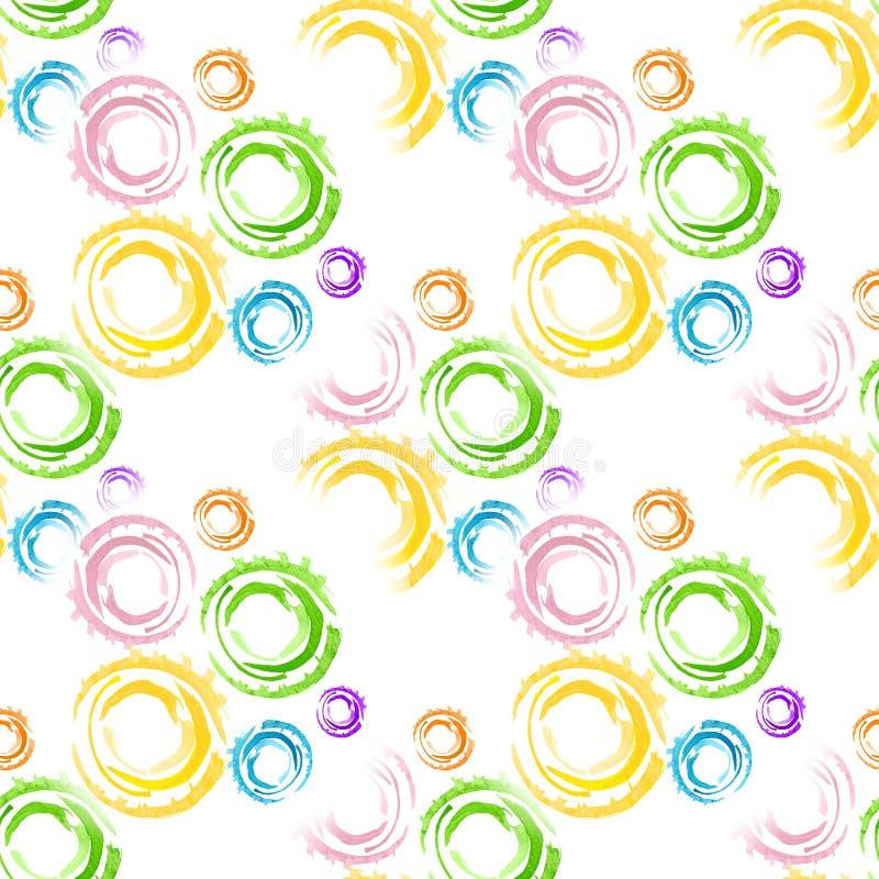 与水彩圆环的无缝的背景 在树胶水彩画颜料创造的图片的主要元素速写手工制造技术 库存例证