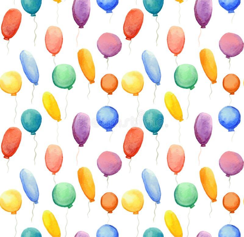 与水彩多彩多姿的气球的无缝的样式 皇族释放例证