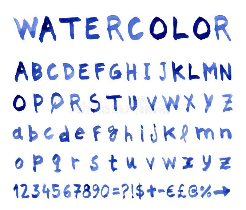 与水彩字体的传染媒介字母表 皇族释放例证