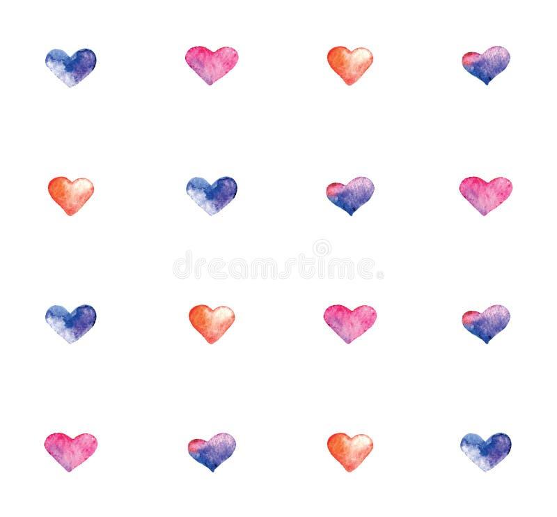 与水彩心脏的样式 免版税库存图片