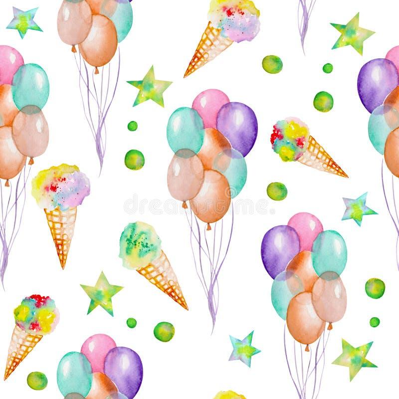与水彩手拉的党或马戏元素的一个无缝的样式:气球、冰淇凌和星 绘在白色 皇族释放例证