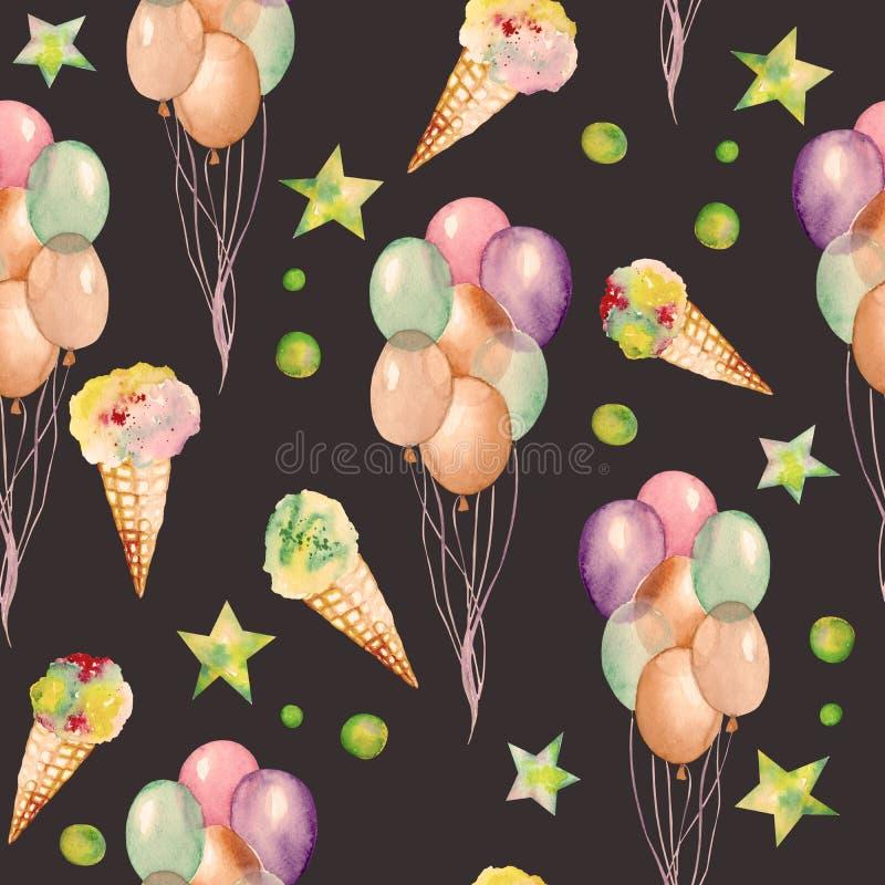 与水彩手拉的党或马戏元素的一个无缝的样式:气球、冰淇凌和星 绘在黑暗的b 向量例证