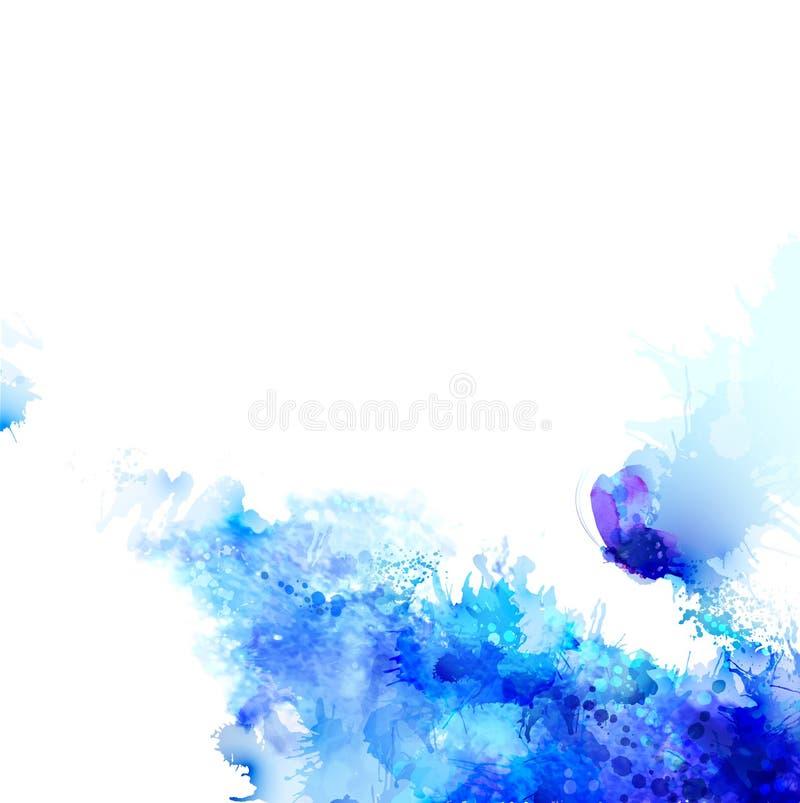 与水彩污点和蝴蝶的蓝色构成的抽象背景 向量例证