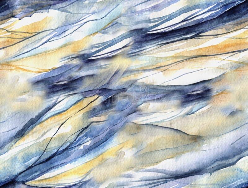 与水彩波浪的无缝的样式 皇族释放例证