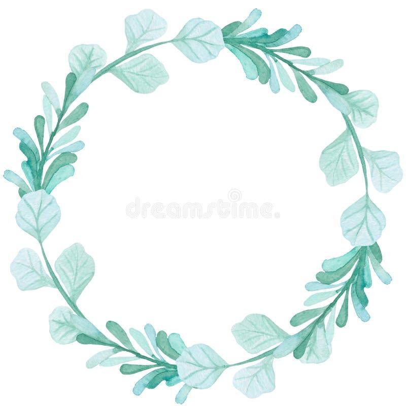与水彩浅绿色的叶子的圆的花圈 皇族释放例证