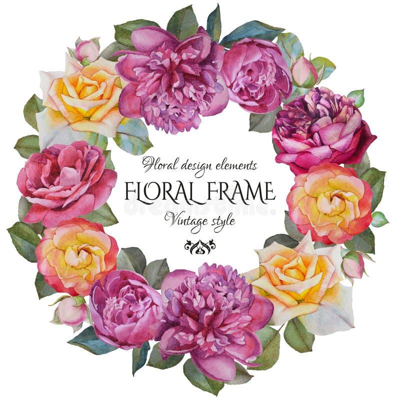 与水彩玫瑰和牡丹框架的葡萄酒花卉贺卡  库存例证