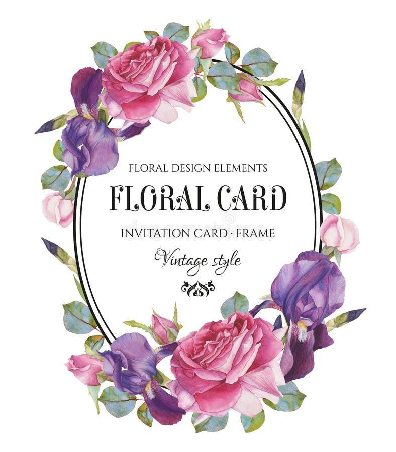 与水彩玫瑰和虹膜框架的葡萄酒花卉贺卡  库存例证