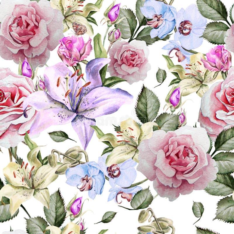 与水彩现实玫瑰、百合和兰花的样式 向量例证