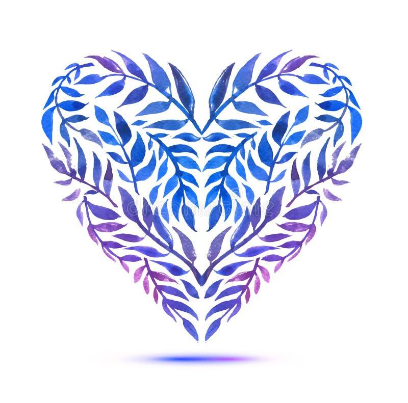 与水彩百花香的爱卡片 情人节与心脏形式的传染媒介例证 库存例证